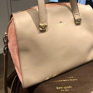 Kate Spade Grey Pink Leather Satchel Purse Bag